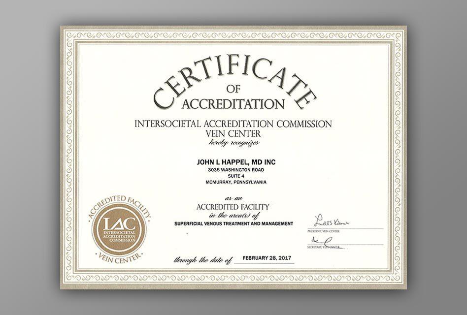 Vein Center Accreditation First Anniversary at Happel Laser