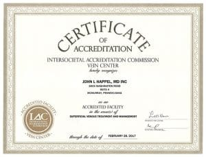 IAC Certificate from Happel Laser and Vein Center